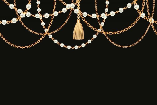 Fondo con collar metálico dorado