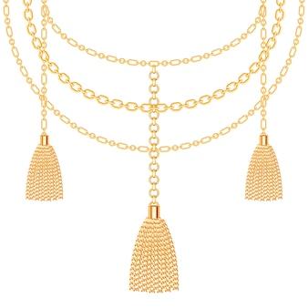 Fondo con collar metálico dorado.