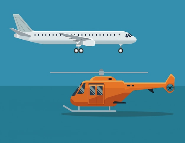 Fondo de color con avión y helicóptero en vuelo