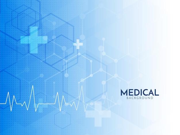 Fondo de color azul de ciencia médica con línea de latido del corazón