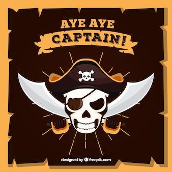 Fondo de color de calavera con sombrero pirata y espadas