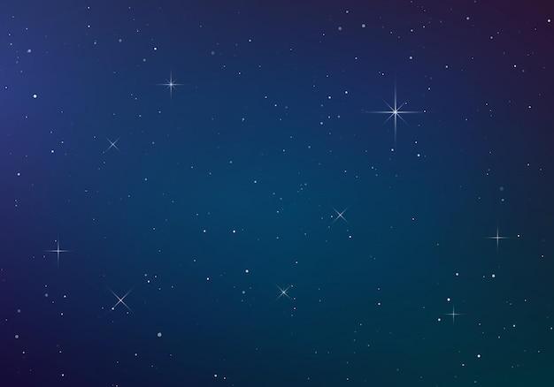 Fondo de color cielo estrellado. cielo nocturno oscuro. espacio infinito con estrellas brillantes.