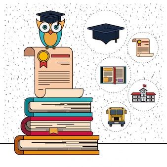 Fondo de color con destellos de lechuza en el certificado y la pila de libros con iconos de elementos de educación