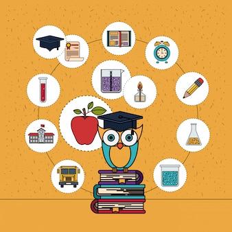 Fondo de color con destellos de lechuza en la pila de libros con iconos de elementos de educación