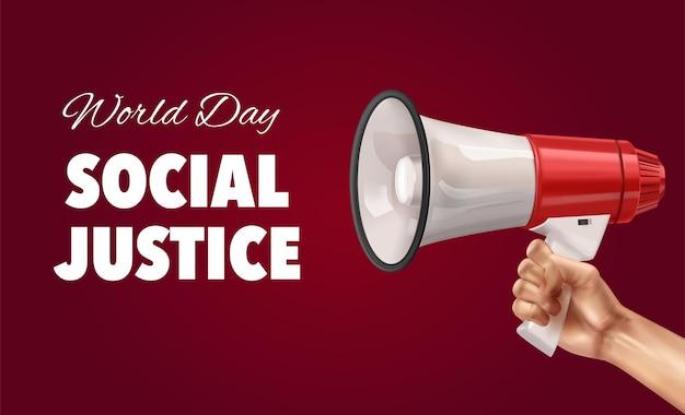Fondo de color del día mundial de la justicia social con mano humana sosteniendo megáfono