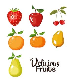 Fondo de color de establecer diferentes tipos de deliciosas frutas
