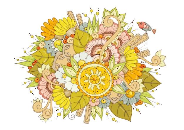 Fondo de color. flores amarillas, rosas, azules y un pajarito.