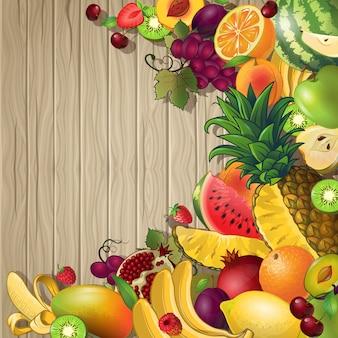 Fondo de color frutas con conjunto de diferentes frutas y bayas en mesa de madera