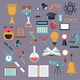 Fondo de color con iconos de elementos escolares establecidos