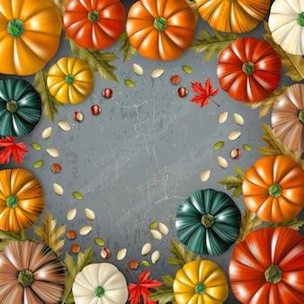 Fondo coloreado del día de acción de gracias con diferentes colores y tamaños de calabazas combinadas en la ilustración de vector de marco