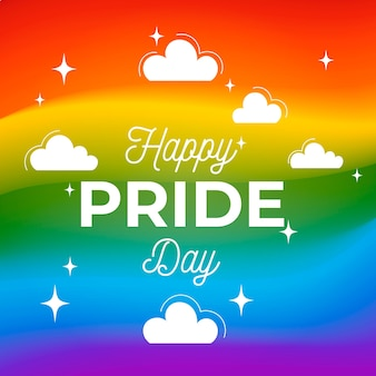 Fondo de colores del día del orgullo con nubes