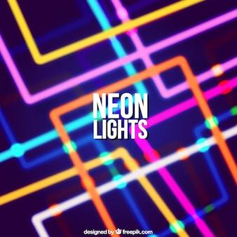 Fondo de colores con luces de neón geométricas