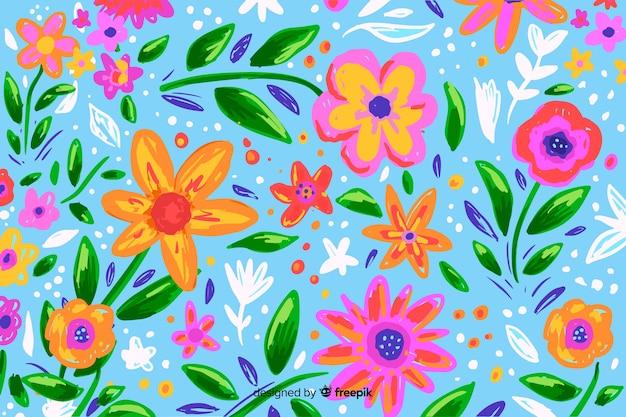 Fondo con coloridas flores pintadas.