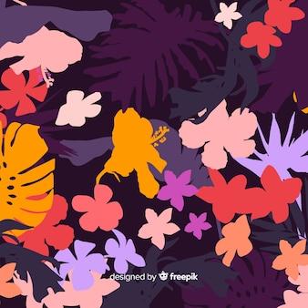 Fondo de coloridas siluetas florales