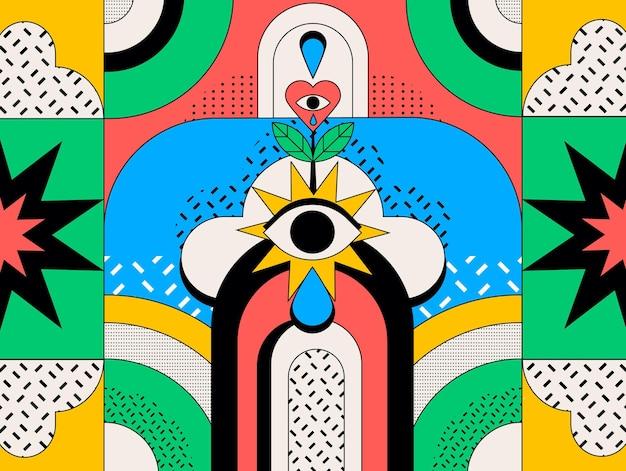 Fondo colorido abstracto con diferentes formas
