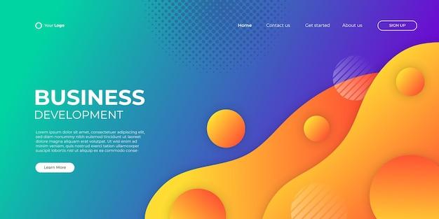 Fondo colorido abstracto para la página de inicio de negocios con forma moderna y concepto de tecnología simple. plantilla de ilustración de vector de bloque de página de destino de diseño web corporativo.