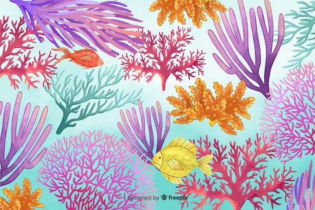 Fondo colorido acuarela coral bajo el agua