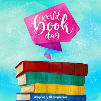 Fondo colorido de acuarela para el día internacional del libro