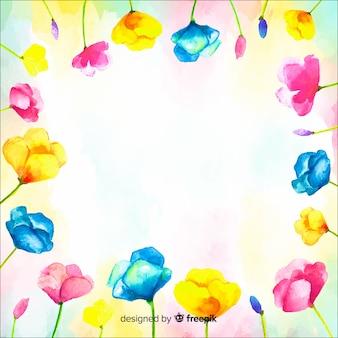 Fondo colorido en acuarela con flores