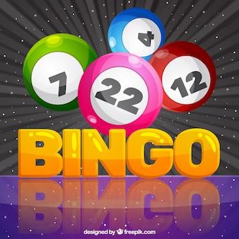 Fondo colorido de bolas de bingo en diseño plano