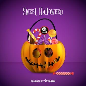 Fondo colorido de bolsa calabaza de dulces de halloween