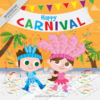 Fondo colorido de carnaval con niños bailando