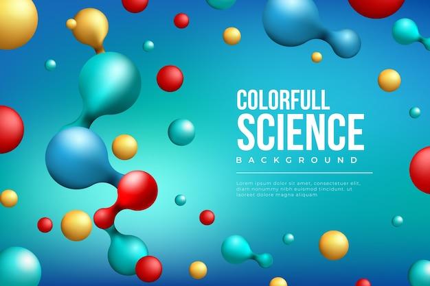 Fondo colorido de la ciencia y moléculas