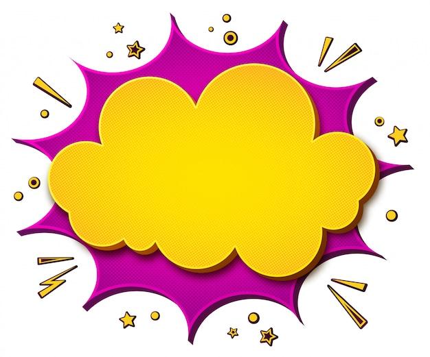 Fondo colorido comics bocadillo de diálogo de dibujos animados amarillo-rosa y explosión