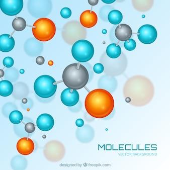 Fondo colorido con moléculas realistas