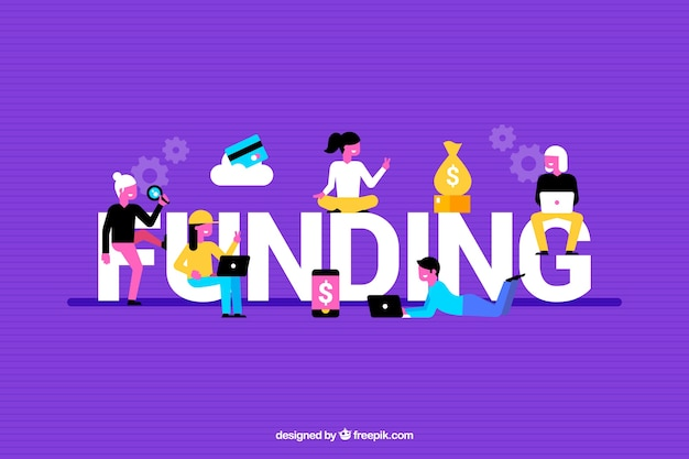 Fondo colorido con palabra de financiación