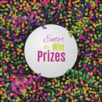 Fondo colorido del confeti con la placa redonda.
