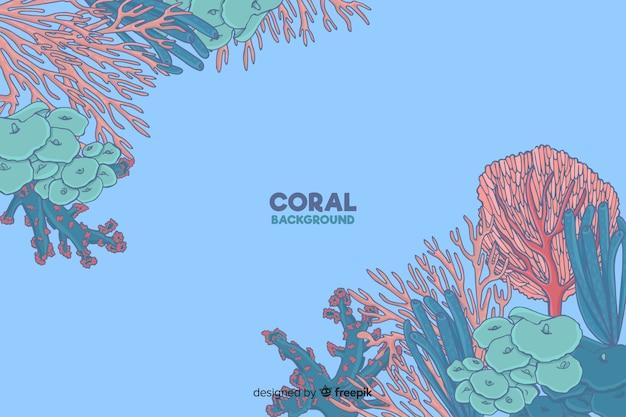 Fondo colorido coral dibujado a mano