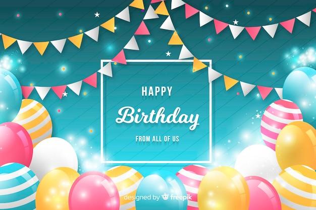 Fondo colorido cumpleaños con globos
