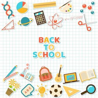 Fondo con colorido curso y pegatinas de elementos escolares