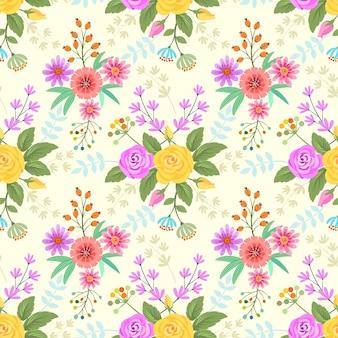 Fondo colorido de la tela del modelo de flores.