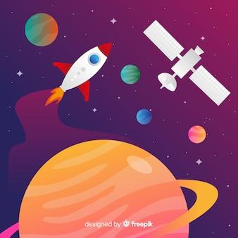 Fondo colorido degradado cohete viajando a través del espacio