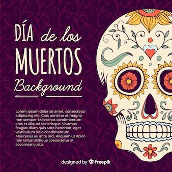 Fondo colorido del día de los muertos dibujado a mano