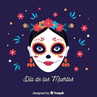 Fondo colorido dia de muertos en diseño plano