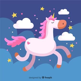 Fondo colorido en diseño plano con bonito unicornio