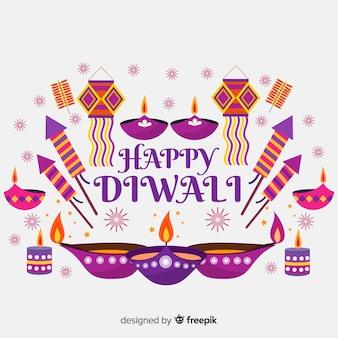 Fondo colorido de diwali con diseño plano