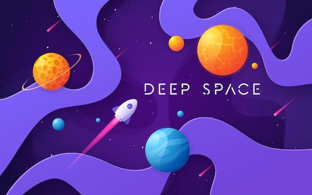 Fondo colorido del espacio exterior de dibujos animados