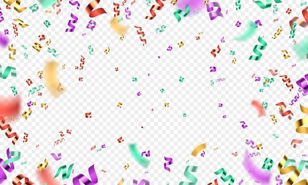 Fondo colorido de la explosión, del partido o del carnaval de confeti 3d. serpentina de brillo caída realista. decoración de vector de celebración de cumpleaños