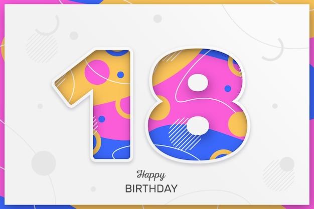 Fondo colorido feliz cumpleaños 18