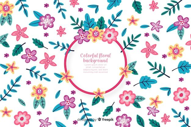 Fondo colorido floral dibujado a mano
