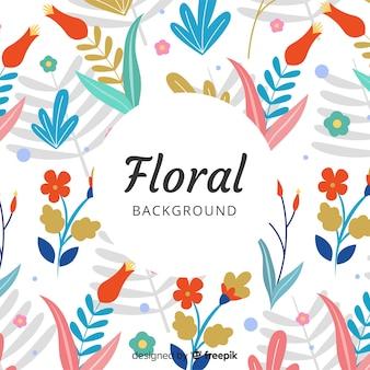 Fondo colorido floral dibujado