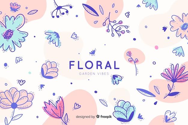 Fondo colorido floral en diseño plano