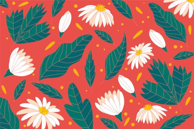 Fondo colorido con flores blancas y hojas