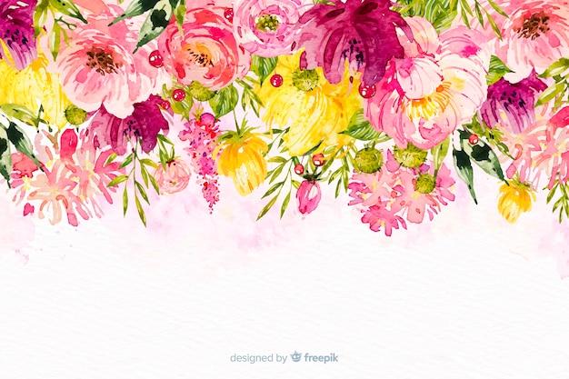 Fondo colorido flores bonitas acuarela