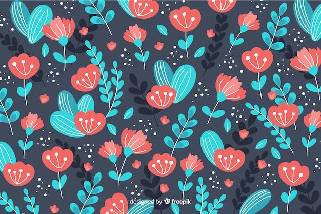 Fondo colorido de flores dibujado a mano