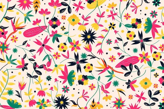 Fondo colorido de flores exóticas